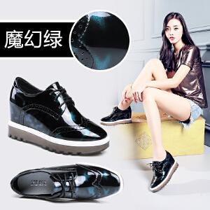 ZHR2017春季新款英伦复古厚底单鞋内增高女鞋学院风平底休闲鞋K10