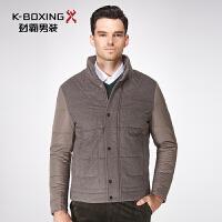 劲霸短版夹克棉服冬季新款商务棉衣外套合身男士羊毛呢棉衣男装厚