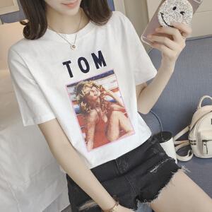 【当当年中庆】白色个性女孩学生t恤女短袖印花百搭女t恤