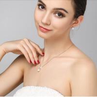 日韩925银珍珠吊坠单颗饰品 天然珍珠项链女正圆简约送女友