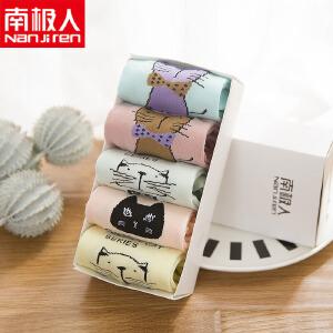 2017款夏季纯棉袜子女薄款糖果色隐形船袜卡通动物短袜5双盒装