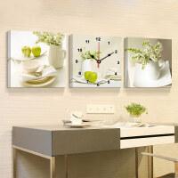 御目 电表箱装饰画 客厅装饰画餐厅现代三联拼画无框画挂钟表沙发背景墙画电表箱壁画