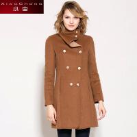 冬装新款欧美修身双排扣羊毛呢外套女中长款大衣厚