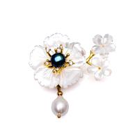 芭法娜 明珠花季 天然淡水珍珠时尚贝壳胸针吊坠 一款两戴 可做吊坠