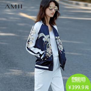 Amii[极简主义]2017春新大码时尚棒球衣撞色刺绣拉链外套11720977