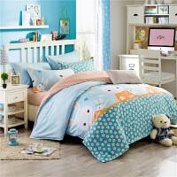 简约纯棉床上用品四件套全棉床单被套被子被单学生宿舍三件套1.5m1.8m儿童1.2米床