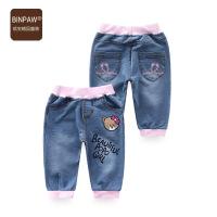 【200-100】夏装binpaw女童短裤2017新款儿童休闲五分裤童装牛仔短裤