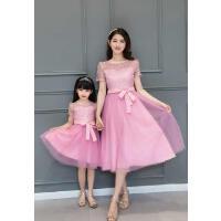 新款潮韩版母女装蕾丝连衣裙公主裙修身显瘦中长款亲子装夏装可礼品卡支付