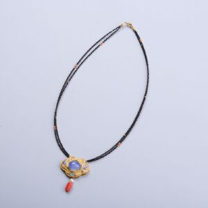 【只有一个】 银镀金镶玉髓珊瑚项链
