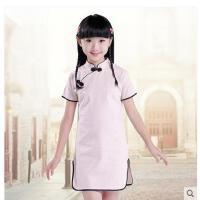 短袖儿童旗袍 棉麻民国女童旗袍裙 纯色女大童连衣裙儿童裙子装支持礼品卡支付