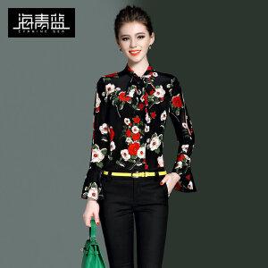 海青蓝2017春装新款复古印花衬衣气质名媛喇叭袖修身衬衫女8636