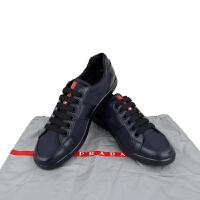 Prada男款蓝色尼龙布拼皮系带鞋 4E2 845 蓝色5码39码