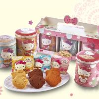 【年货】 台湾进口红樱花Hello Kitty休闲零食糕点饼干糖果新年礼盒 小西饼礼盒 9片*3罐
