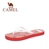 Camel/骆驼女鞋 夏季新品休闲舒适人字拖女可爱印花沙滩防滑拖鞋