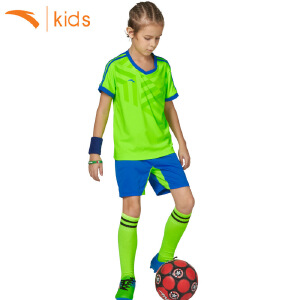 安踏男童运动足球套装夏训练服儿童t恤短袖五分裤两件套35722204