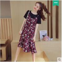 韩版甜美宽松碎花裙子新款大码连衣裙吊带裙套装打底裙两件套  可礼品卡支付