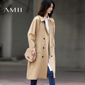 Amii[极简主义]2017春翻领双排扣收腰纯棉长款风衣外套女11790236