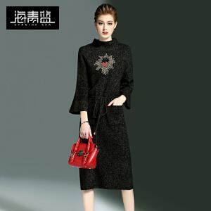 海青蓝2017春季新款纯色潮流个性中长一步裙修身气质连衣裙女7751