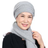 中老年女帽子围巾秋冬天妈妈帽老人帽护耳毛线帽保暖