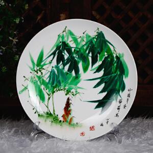 中国竹画泰斗非遗传承人 童承天 釉上彩瓷盘《竹报平安节节高》