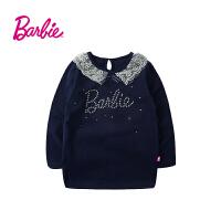 【满200减100】Barbie芭比女童装秋装纯棉长袖T恤中大童圆领春秋打底衫蕾丝翻领体恤衫
