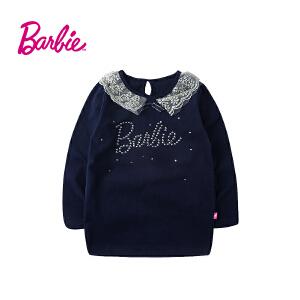 【满200减80】Barbie芭比女童装秋装纯棉长袖T恤中大童圆领春秋打底衫蕾丝翻领体恤衫