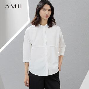 Amii2017夏简洁立领七分袖弧形下摆棉质衬衫女11730997
