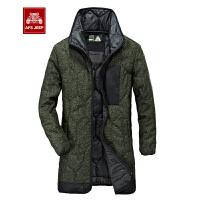 战地吉普 AFS JEEP冬季男士厚款棉衣 男装立领长款保暖棉服 简约休闲宽松大码棉袄外套