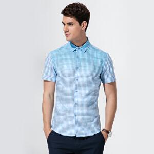 才子男装(TRIES)短袖衬衫 男士潮流渐变休闲格子短袖衬衫