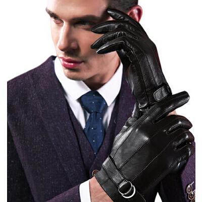男士时尚加绒防寒骑车手套 保暖山羊皮手套触屏手套_黑色,xl