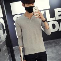 春季V领韩版修身长袖T恤男修身男士打底衫上衣潮