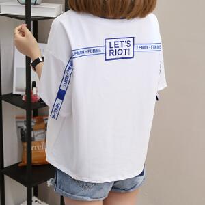 【当当年中庆】2017短袖T恤女宽松夏装新款韩版学生上衣百搭边带体恤潮