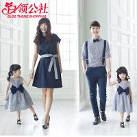 白领公社 亲子装 2017夏装新款韩版家庭装三四口英伦风格子衬衫童装摄影母女装套装