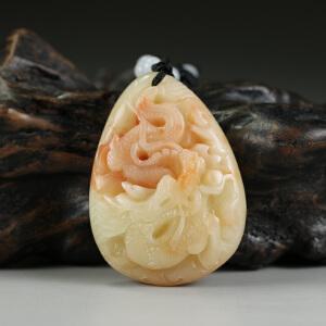 寿山老性芙蓉石  精雕鳌龙戏珠挂件 jd2665