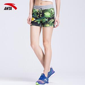 安踏女裤运动短裤夏季印花图案休闲短裤女子运动热裤16628787