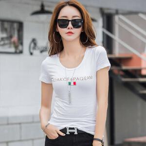 短袖t恤女夏装纯棉修身韩版上衣简约百搭字母白色半袖打底体恤衫WK7090
