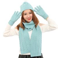 围巾手套三件套围脖秋冬季女儿童毛线针织保暖亲子装