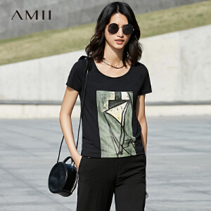 Amii[极简主义]2017夏新女大码休闲弹力印花抽象显瘦T恤11730788