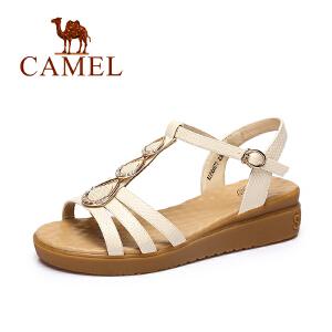 Camel/骆驼女鞋2017春夏新品时尚皮带扣女鞋舒适坡跟水钻凉鞋