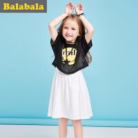 巴拉巴拉儿童 短袖套装女 2017夏新款 中大童童装 女童两件套半袖休闲