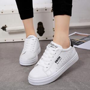 冬季新品时尚板鞋圆头低帮系带休闲鞋女学生单鞋潮鞋厚底内增高小白鞋