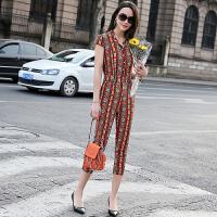 真丝时尚套装女夏2017新款韩版修身气质休闲桑蚕丝连体裤