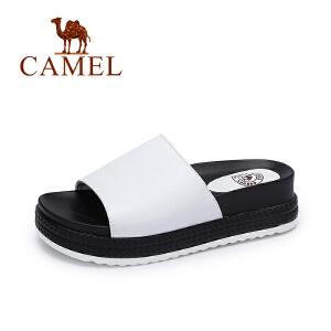 camel骆驼女鞋 夏季新款 简约舒适厚底女拖鞋 柔软时尚拖鞋
