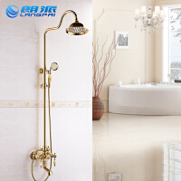 欧式青玉石淋浴花洒仿古水龙头浴室全铜金色喷头套装玫瑰金淋浴器