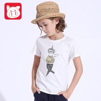 小猪班纳童装男童夏装2017新款儿童短袖t恤男大童打底衫圆领纯棉潮