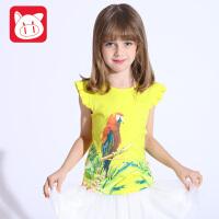 小猪班纳童装女童短袖t恤儿童圆领上衣2017夏季新款中大童休闲T恤