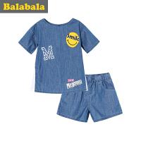 巴拉巴拉宝宝短袖套装女童衣服2017夏季新款小童儿童两件套女半袖