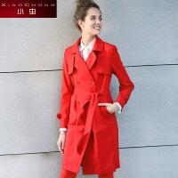 小虫2016秋季纯色西装领修身显瘦中长款风衣厚外套女