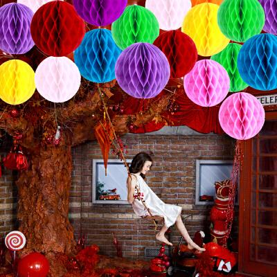 儿童手工制作蜂窝纸球装饰幼儿园布置彩球元旦灯笼挂饰diy用品