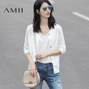 Amii[极简主义]2017春女新微透轻薄修身七分袖毛针织开衫11740301